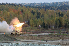 Heavy Flame Thrower System. NIZHNY TAGIL, RUSSIA - SEP 25, 2013: The international exhibition of armament, military equipment and ammunition RUSSIA ARMS EXPO ( Royalty Free Stock Photography