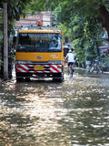 Heavy flooding from monsoon rain in Ayutthaya and north Thailand arriving in Bangkok. BANGKOK, THAILAND - OCTOBER 30 : Heavy flooding from monsoon rain in Royalty Free Stock Image