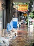 Heavy flooding from monsoon rain in Ayutthaya and north Thailand arriving in Bangkok. BANGKOK, THAILAND - OCTOBER 30 : Heavy flooding from monsoon rain in Stock Images