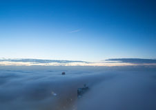 Heavy fog above the city of Sydney Australia royalty free stock photography
