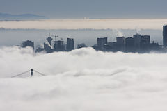 Heavy fog over Vancouver city Royalty Free Stock Photography