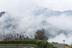 Heavy fog rises in the valley Stock Photography