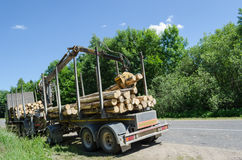 Heavy forest trailer with log pile along road Royalty Free Stock Photo