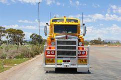 Heavy freight trailer transport by road train in Australia Royalty Free Stock Photo