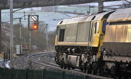 Heavy freight, West coast line, UK Royalty Free Stock Images