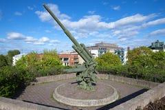 Heavy German antiaircraft gun of the Second World War on the summit of Palotorninvuori Royalty Free Stock Images