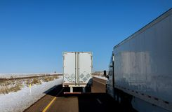 Heavy good vehicle travels across New Mexico royalty free stock image