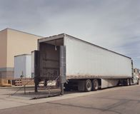 Heavy goods truck at loading depot Stock Photos