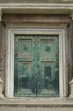Heavy, green door in Rome. The door of Antiquarium Forense, Forum Romanum in Rome, Italy Royalty Free Stock Photos