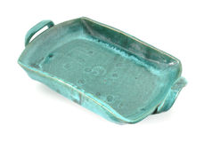 Heavy green stoneware ceramic tray Stock Image