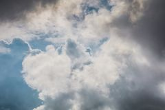 Clouds in the Sky. Heavy grey clouds in the sky before the rain Royalty Free Stock Images
