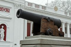 A heavy gun on defence. A heavy gun on the city defence Stock Images