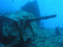 Heavy gun at stern of Thistleg. Heavy gun 105mm at stern of Thistlegorm, Red Sea, Egypt Royalty Free Stock Photography