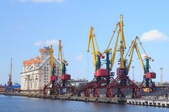 Heavy harbour jib cranes. Stock Photography