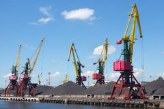 Heavy harbour jib cranes. Royalty Free Stock Photography