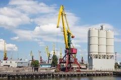 Heavy harbour jib cranes. Royalty Free Stock Photos