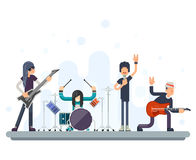 Heavy Hard Rock Folk Group Band Music Icons Guitarist Singer Bassist Drummer Concept Flat Design Vector Illustration. Heavy Hard Rock Folk Group Band Music Icons Royalty Free Stock Photos