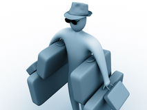 Heavy holidays. 3d person holding many suitcases royalty free illustration