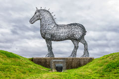 The Heavy Horse, Glasgow, Scotland. The Heavy Horse by Andy Scott is a sculpture of a Clydesdale Horse and one of the best known artworks in Scotland, on August Royalty Free Stock Image