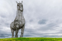 The Heavy Horse, Glasgow, Scotland. 'The Heavy Horse' by Andy Scott is a sculpture of a Clydesdale Horse and one of the best known artworks in Scotland, on stock image