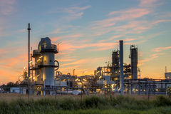 Heavy Industrial Chemical Factory at sunset Royalty Free Stock Photos