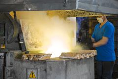 Heavy industry. Hard working in the foundry factory Stock Photo
