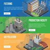 Heavy industry air pollution horizontal flyers Stock Image