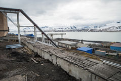 Heavy industry in Barentsburg, Russian settlement in Svalbard Stock Image