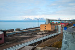Heavy industry in Barentsburg, Russian settlement in Svalbard Royalty Free Stock Photo