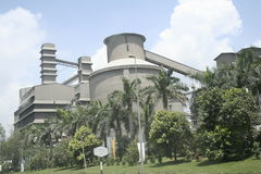 Heavy Industry Building. A cement factory in operation stock images