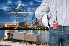 Heavy industry of cargo ship terminal and logistics transportati. On., Air freight, Sea freight, Business industrial concept Royalty Free Stock Photos