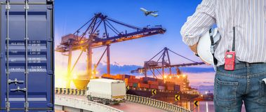 Heavy industry of cargo ship terminal and logistics transportati. On., Air freight, Sea freight, Business industrial concept Royalty Free Stock Photography