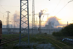 Heavy industry complex behind the railway Stock Photography