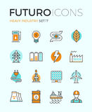 Heavy industry futuro line icons Stock Photos