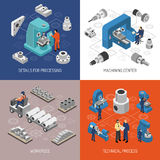 Heavy Industry Isometric Design Concept. With details and work pieces technical process machining center isolated vector illustration vector illustration