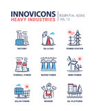 Heavy industry line design icons set Royalty Free Stock Photos