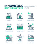 Heavy industry line design icons set Stock Images