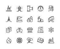 Heavy industry line icons. Oil gas production nuclear electric station fuel refinery barrel. Power storage industrial stock illustration