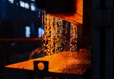 Heavy industry metallurgical plant sparks stove metall. Heavy forging Plant. Oven. water curtain. Fire furnace. For abstract background and texture royalty free stock image