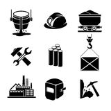 Heavy industry or metallurgy icons set. Wrench and hammer, hack and helmet, tool for manufacturing, production and trolley, factory building, vector Stock Images