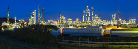 Heavy Industry Panorama At Night Stock Photography