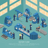 Heavy Industry Production Facility Isometric Poster. Heavy industry production manufacturing process with workers and equipment machinery on factory floor royalty free illustration