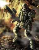 Heavy Infantry Firing. Science Fiction Original Character Royalty Free Stock Photo