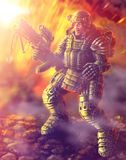 Heavy Infantry Firing. Science Fiction Original Character Royalty Free Stock Image