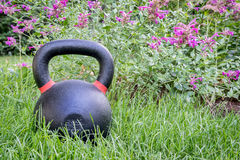 Heavy kettlebell in backyard Royalty Free Stock Images