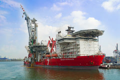 Heavy lift construction vessel Seven Borealis in the Port of Rot Stock Photos