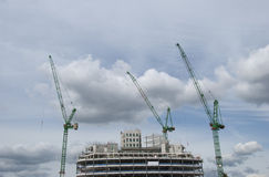 Heavy Lift Cranes And Construction Site Stock Images
