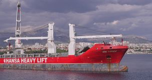 Heavy lift ship in front of the Split port stock footage