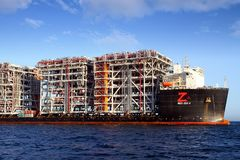 Giant heavy-lift ship RED ZED 2 anchored in Algeciras bay. Heavy-lift ship RED ZED 2 designed to move very large loads that cannot be handled by normal ships in royalty free stock images