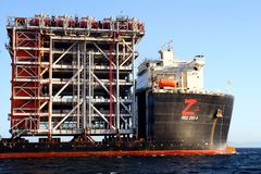 Giant heavy-lift ship RED ZED 2 anchored in Algeciras bay. Heavy-lift ship RED ZED 2 designed to move very large loads that cannot be handled by normal ships in royalty free stock photos
